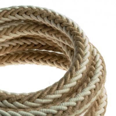 2XL gedraaid touw van jute en ruw wit katoen, 2x0,75 elektrische kabel. Diameter 24mm.