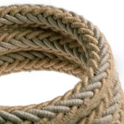 2XL gedraaid touw van jute en natuurlijk grijs linnen, 2x0,75 elektrische kabel. Diameter 24mm.
