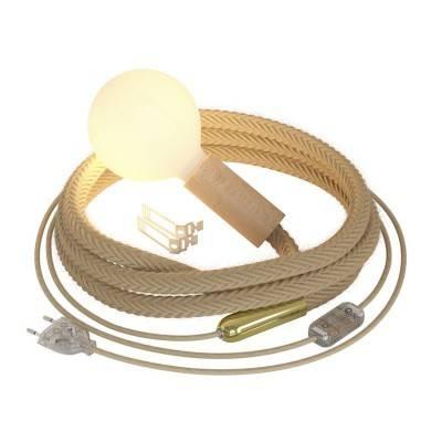 SnakeBis cablâge avec porte-lampe en bois, douille en métal et cordon 2XL Jute