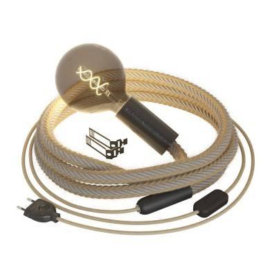 SnakeBis cablâge avec porte-lampe en bois, douille en métal et cordon 2XL Jute et Lin naturel gris