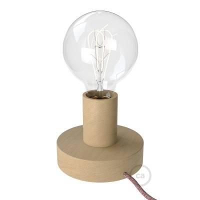 Posaluce Wood S, lampe de table en bois fournie avec câble textile, interrupteur et prise bipolaire