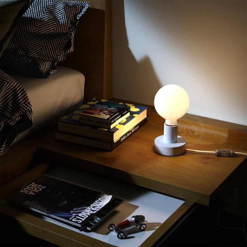 Posaluce Wood S, houten tafellamp inclusief lichtbron, textielkabel, schakelaar en 2-polige stekker