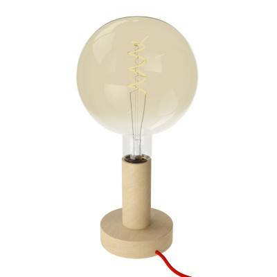 Posaluce Wood M, lampe de table en bois fournie avec câble textile, interrupteur et prise bipolaire