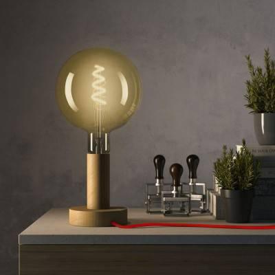 Posaluce Wood M, houten tafellamp inclusief lichtbron, textielkabel, schakelaar en 2-polige stekker