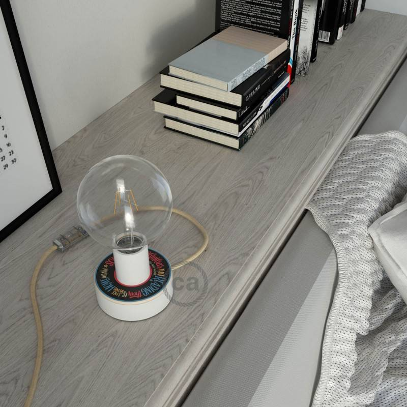 Lampe Posaluce MINI-UFO en bois double face Pemberley Pond, fournie avec câble textile, interrupteur et prise bipolaire