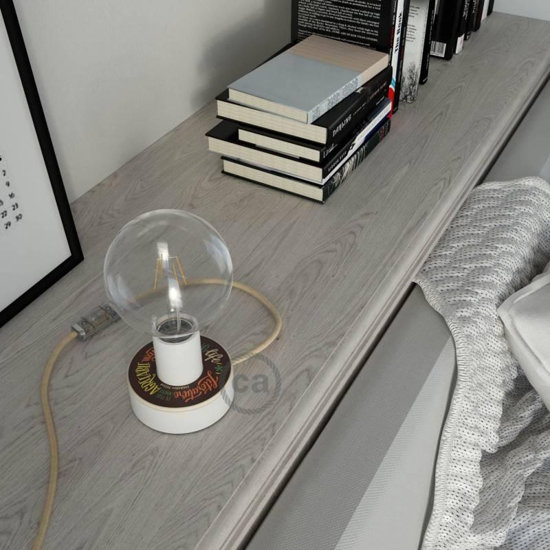 Posaluce MINI-UFO hout double-face Pemberley Pond, inclusief lichtbron, textielkabel, schakelaar en 2-polige stekker
