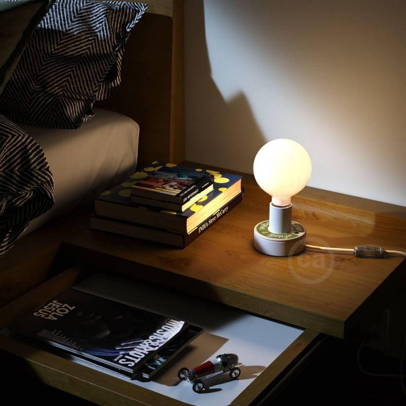 Posaluce MINI-UFO, een houten double-face PALLA DI LETTURA, inclusief lichtbron, textielkabel, schakelaar en 2-polige stekker