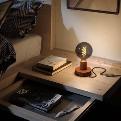 Posaluce Leather, houten tafellamp inclusief lichtbron, textielkabel, schakelaar en 2-polige stekker