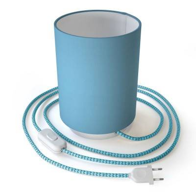 Posaluce Metal met lichtblauwe lampenkap Cilindro, inclusief lichtbron, textielkabel, schakelaar en 2-polige stekker