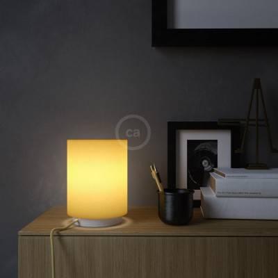 Posaluce Metal met felgele lampenkap Cilindro, inclusief lichtbron, textielkabel, schakelaar en 2-polige stekker