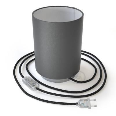 Posaluce Metal met penguin-electra lampenkap Cilindro, inclusief lichtbron, textielkabel, schakelaar en 2-polige stekker