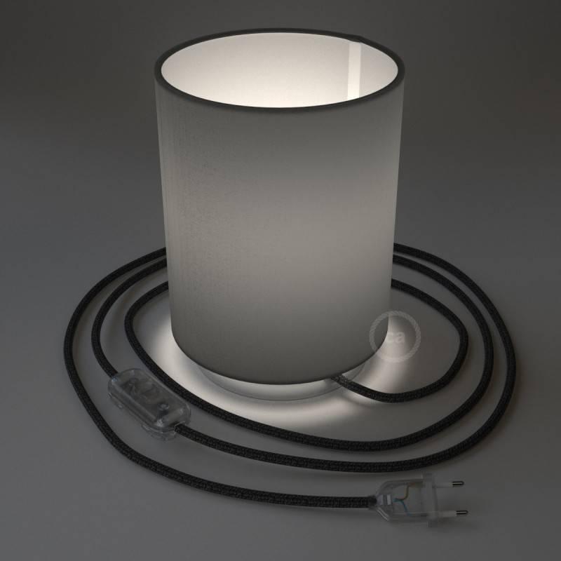 Lampe Posaluce en métal avec abat-jour Cilindro Electra Pinguino, avec câble textile, interrupteur et prise bipolaire