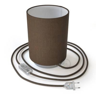 Lampe Posaluce en métal avec abat-jour Cilindro Camelot marron, avec câble textile, interrupteur et prise bipolaire
