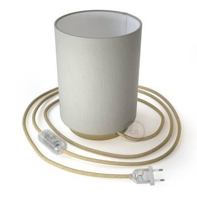 Posaluce Metal met Cilindro lampenkap van wit linnen, inclusief lichtbron, textielkabel, schakelaar en 2-polige stekker