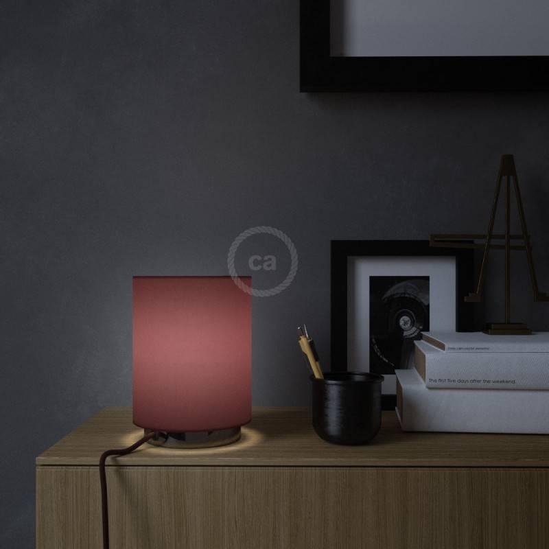 Lampe Posaluce en métal avec abat-jour Cilindro en toile bordeaux, avec câble textile, interrupteur et prise bipolaire