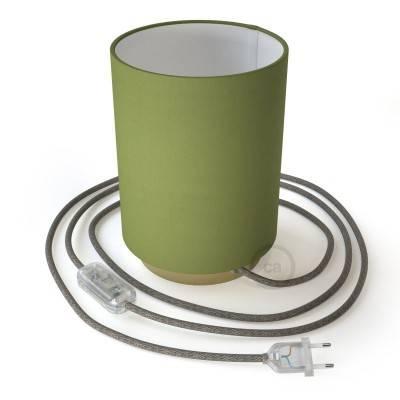 Posaluce Metal met Cilindro lampenkap van olijfgroen canvas, inclusief lichtbron, textielkabel, schakelaar en 2-polige stekker