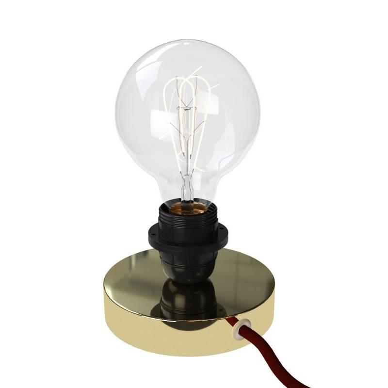 Posaluce Metal voor lampenkap, metalen tafellamp inclusief lichtbron, textielkabel, schakelaar en 2-polige stekker