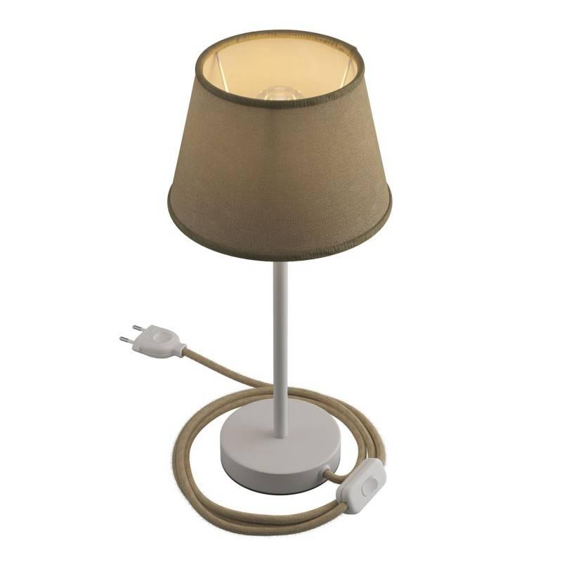Alzaluce avec abat-jour Impero, lampe de table en métal avec fiche à deux pôles, câble et interrupteur