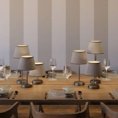 Alzaluce met Impero-lampenkap, metalen tafellamp met stekker, snoer en schakelaar