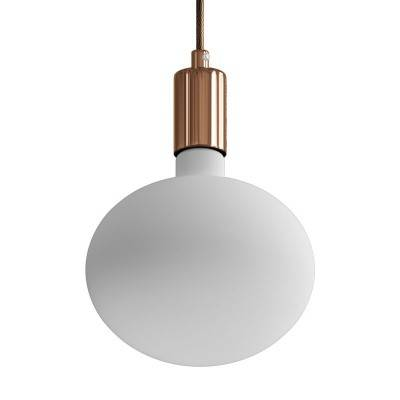Pendant lamp with textile cable and contrasting metal details - Made in Italy