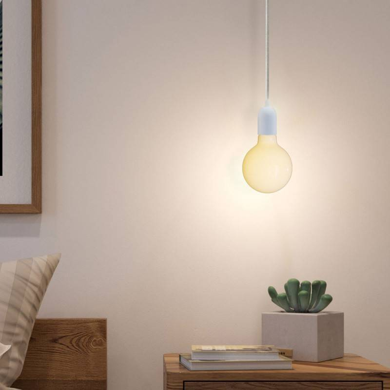 Pendant lamp with textile cable, rose and hemispherical metal lamp holder - Made in Italy