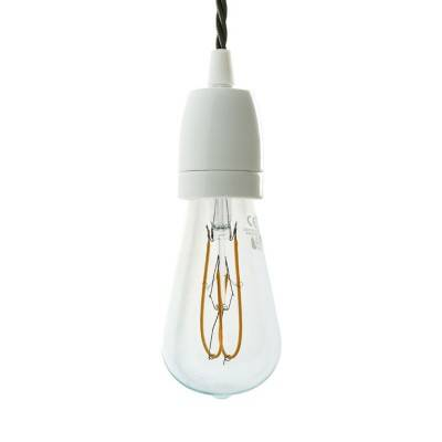 Pendant lamp with twisted textile cable and hand decorated ceramic details - Made in Italy