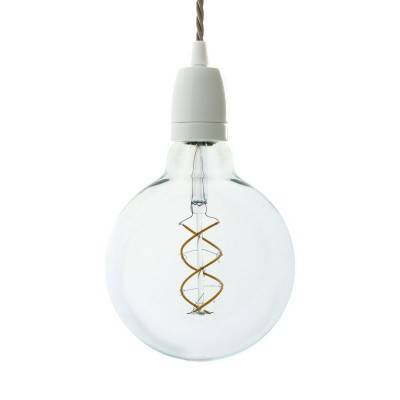 Pendant lamp with twisted textile cable and white porcelain details - Made in Italy