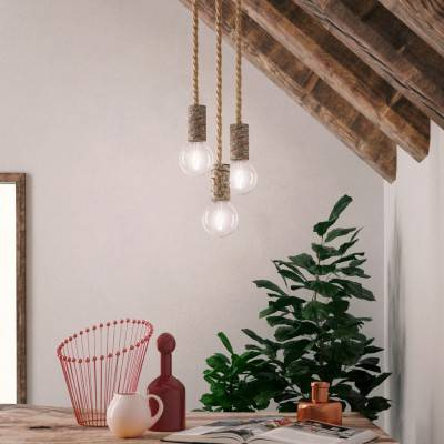 Pendant lamp with nautical cord XL and small bark lamp holder - Made in Italy