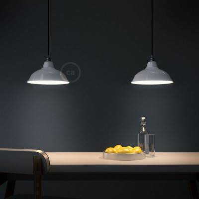 Pendant lamp with textile cable, Bistrot lampshade and metal details - Made in Italy