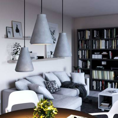 Pendant lamp with textile cable, Funnel cement lampshade and metal details - Made in Italy