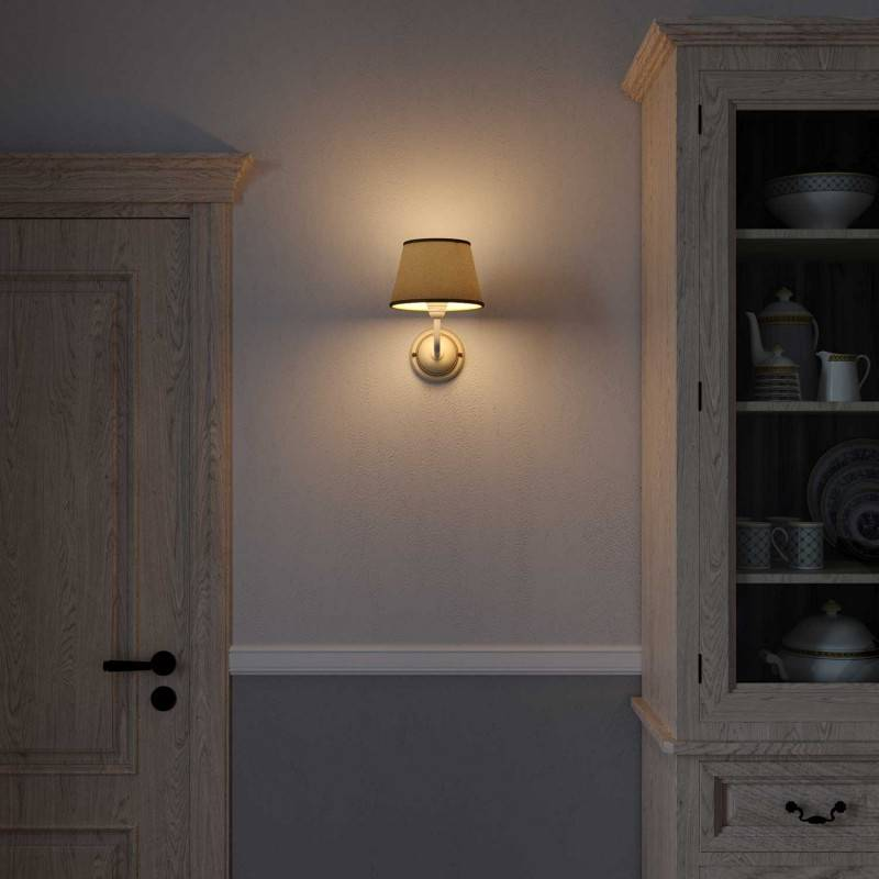 Fermaluce Cottage, keramische wandlamp met lampenkap en gebogen arm