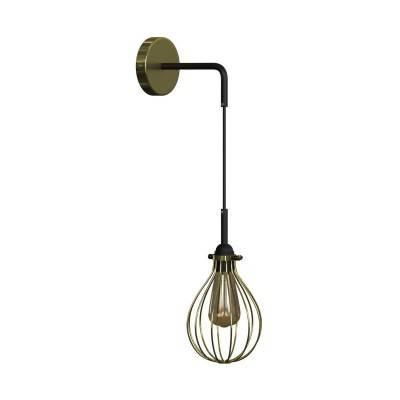 Fermaluce Metal met Drop lampenkap, metalen wandlamp met gebogen arm en textielkabel