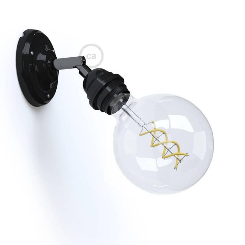 Fermaluce 90° Monochrome, support de lampe fileté E27, réglable, en porcelaine