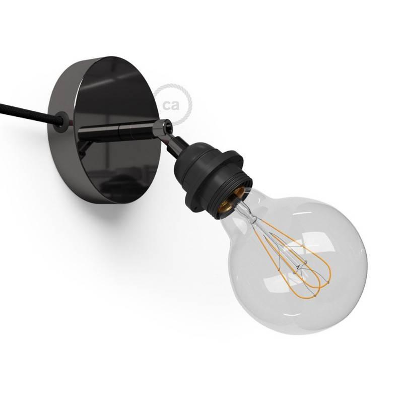 Spostaluce Metallo 90° orientable, avec douille E27 filetée, câble textil et trous latéraux