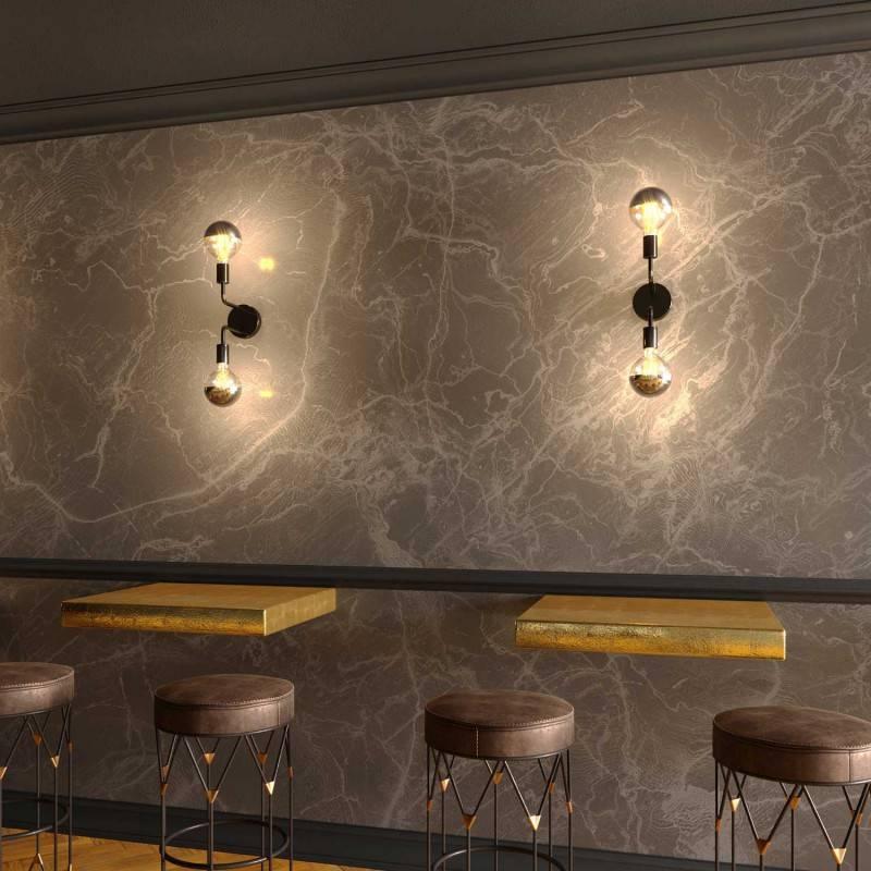 Fermaluce Metal, applique murale en métal avec double extension courbe