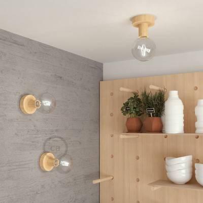 Fermaluce Wood S, houten wand- of plafondlamp