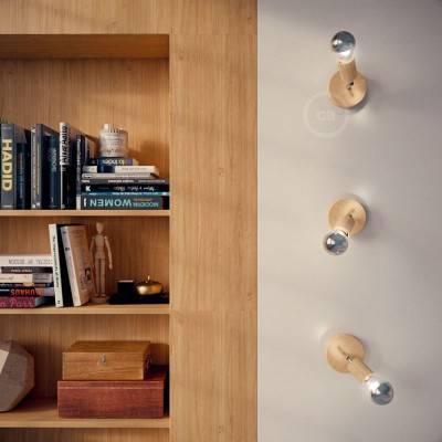 Fermaluce Wood 90°, wand- of plafondlamp van natuurlijk hout