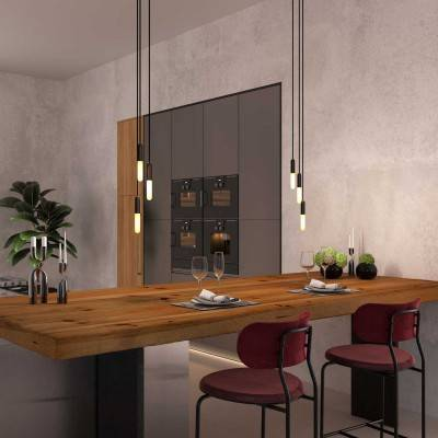Made in Italy suspension with 3 pendants complete with bulbs, P-Light, and 200 mm Rose-One