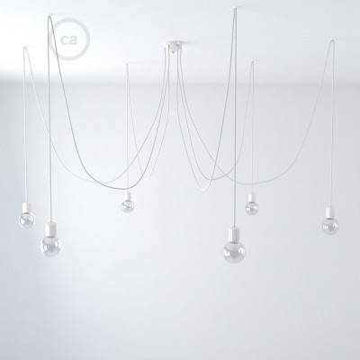 Made in Italy suspension with 6 pendants complete with bulbs, fabric cable, and coloured ceramic finishes