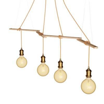 Zigh-Zagh, verstelbare houten plafondbeugel voor hanglampen