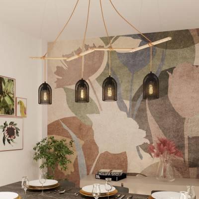 Zigh-Zagh, support de plafond réglable en bois pour lampes à suspension