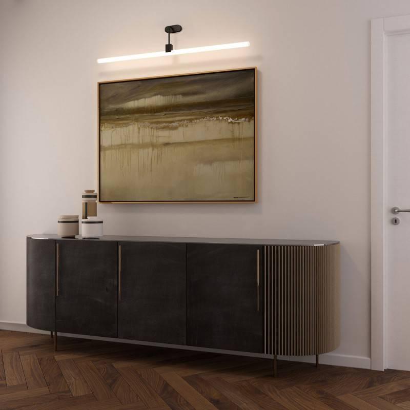 Wandlamp met Syntax fitting, L-vormige arm en ovale houten plafondkap