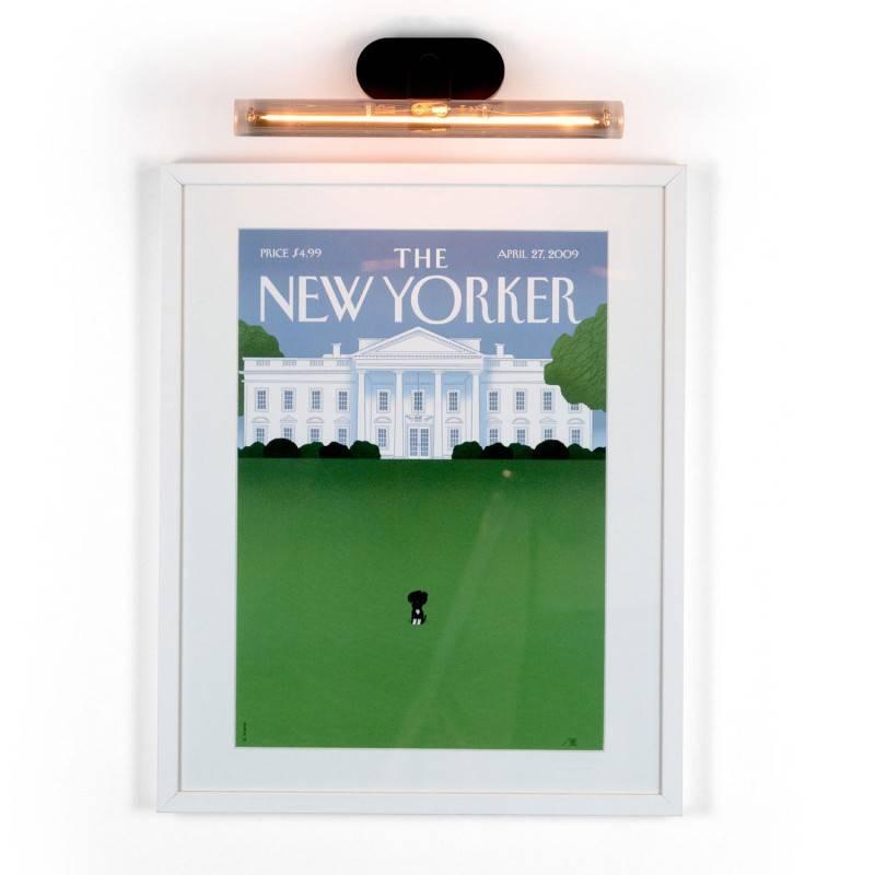 Fermaluce S14 System, lampe orientable à fleur de mur, culot S14d et rosace ovale en bois
