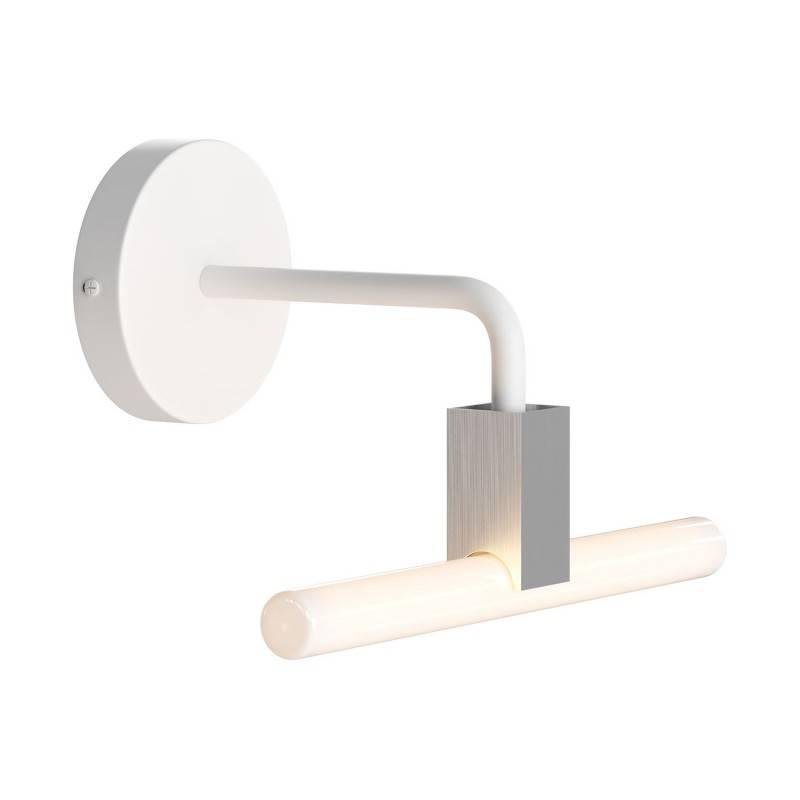 Minimalistische wandlamp met Syntax connector en zwart metalen gebogen verlengstang - voor S14d lichtbronnen