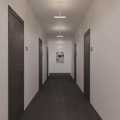 Minimalistische plafondlamp met Syntax connector en 30 cm. zwarte metalen verlengstang - voor S14d lichtbronnen
