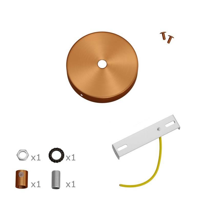 Kit Mini cilindrische houten Plafondrozet van metaal met 1 centraal gat