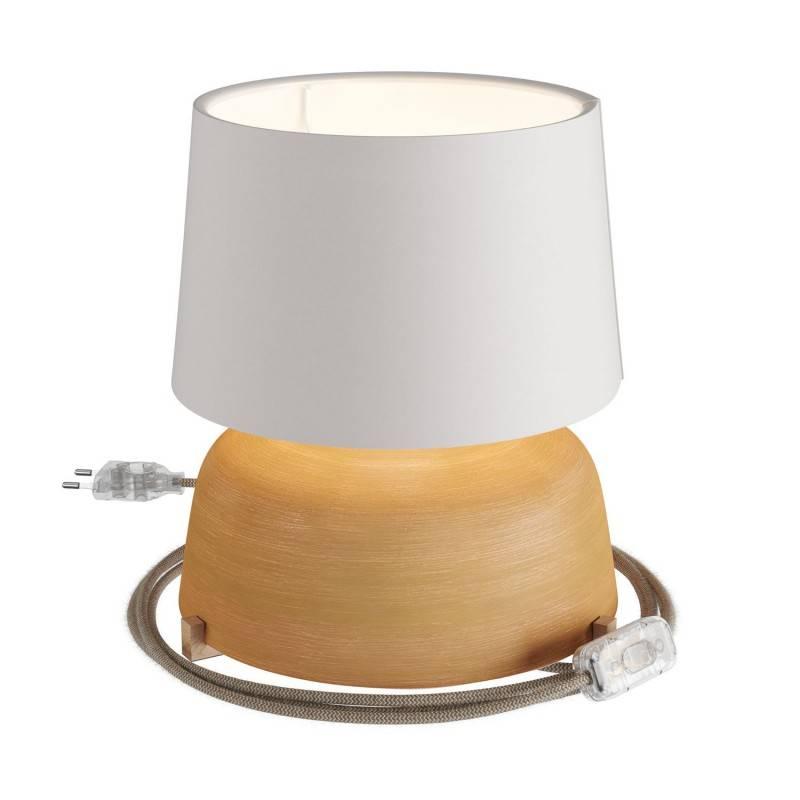 Lampe de table Coppa en céramique avec abat-jour Athena, câble textile, interrupteur et prise bipolaire
