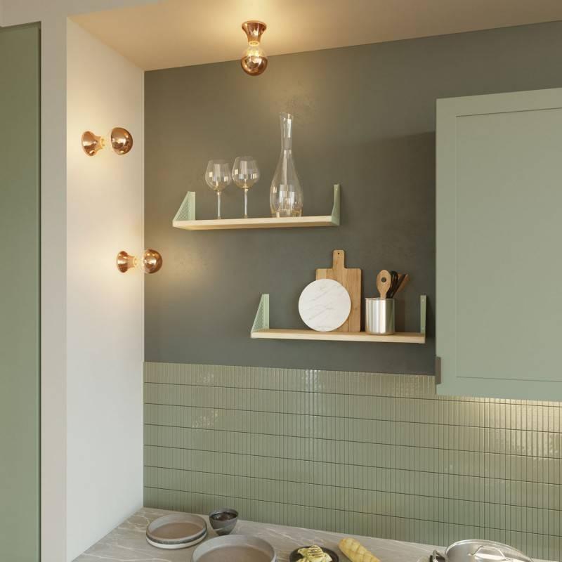 Porte-lampe métallisé E27 pour lampes murales ou de plafond