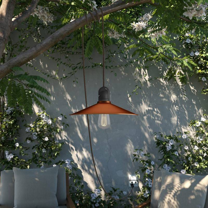 Snake Eiva avec abat-jour Swing, lampe d'extérieur portative, 5 m de câble textile, douille étanche IP65 et fiche
