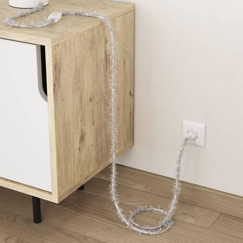 Burlesque gedraaide elektriciteitskabel bekleed met stof, pluizend harig effect, effen kleur wit TP01